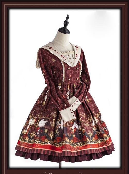 Pokerland's Bunnies Series Wine Red Sweet Lolita Long Sleeve Dress