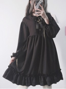 The Castle Under The Moonlight Pure Black Gothic Lolita Long Sleeve Dress