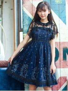 Starry Night Angel Series Navy Blue Two-piece Sling Dress