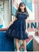 Starry Night Angel Series Navy Blue Two-piece Sling Dress