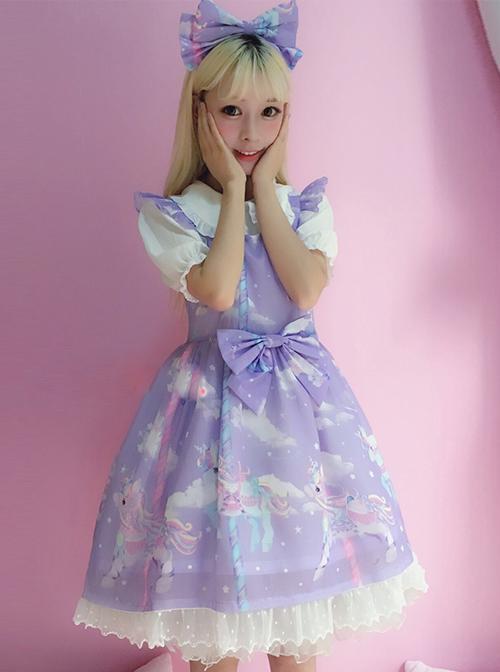 Unicorn Carousel Series Flying Sleeves Sweet Lolita Dress