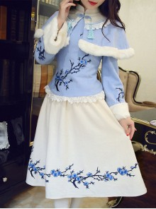 Plum Blossom Embroidery Classic Lolita Dress With Shawl