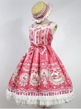 Strawberry Rabbit Series Sweet Lolita High Waist Sling Dress