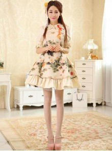Koi And Lotus Flower Chinese Style Lolita Short Sleeve Dress