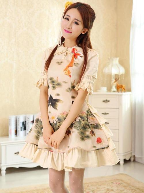 Koi And Lotus Flower Chinese Style Lolita Short Sleeve Dress