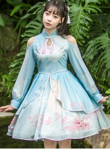 Retro Chinese Style Blue Chiffon Lolita Long Sleeve Dress