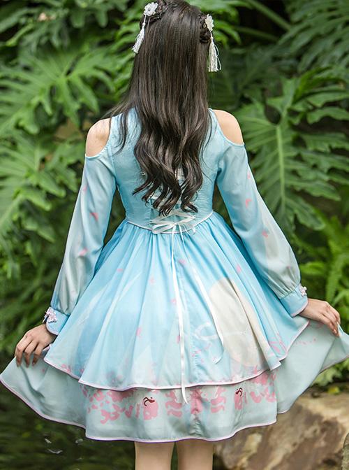 Retro Chinese Style Blue Chiffon Lolita Long Sleeve Dress