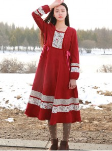 Retro Red Classic Lolita Long Sleeve Dress