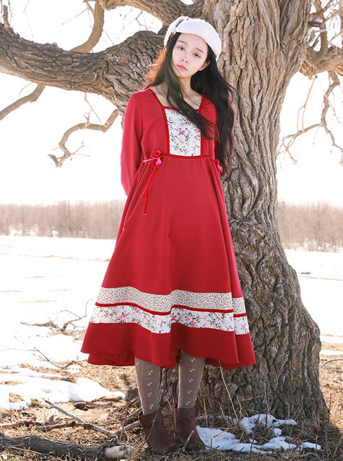 Retro Red Classic Lolita Long Sleeve Dress