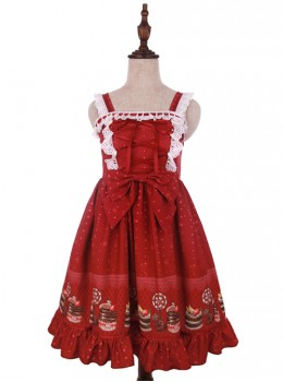 Cake Dessert Chocolate Printing Sweet Lolita Sling Dress