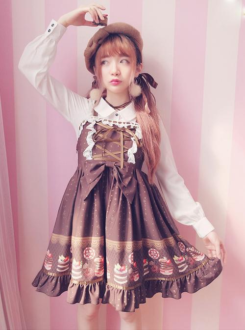 Cake Dessert Chocolate Printing Sweet Lolita Sling Dress