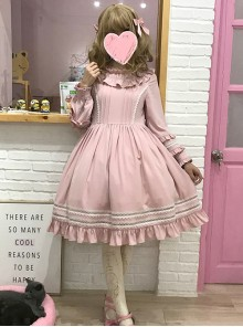 Elegant Cute Lace Pure Color Ruffles Classic Lolita Long Sleeve Dress