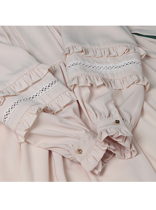 Elegant Cute Lace Pure Color Ruffles Classic Lolita Long Sleeve Dress