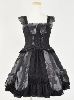 Black Chiffon Lace-up Gothic Lolita Sling Dress