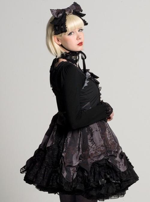 Black Chiffon Lace-up Gothic Lolita Sling Dress