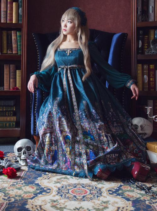 Surface Spell Rosary Printing High Waist Lolita Long Sleeve Dress