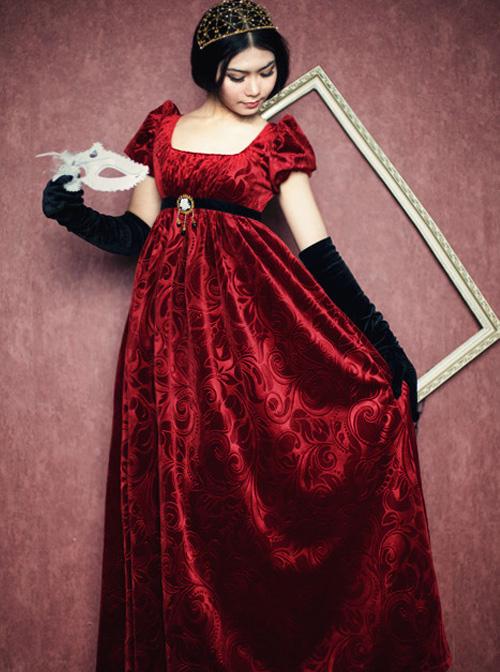 Surface Spell Juliet High Waist Jacquard Lolita Short Sleeve Dress