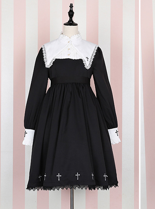 Unknown Poem Series Cross Embroidery Gothic Lolita Black Long Sleeve Dress
