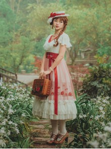Flowers Embroidery Little High Waist Classic Lolita Long Dress