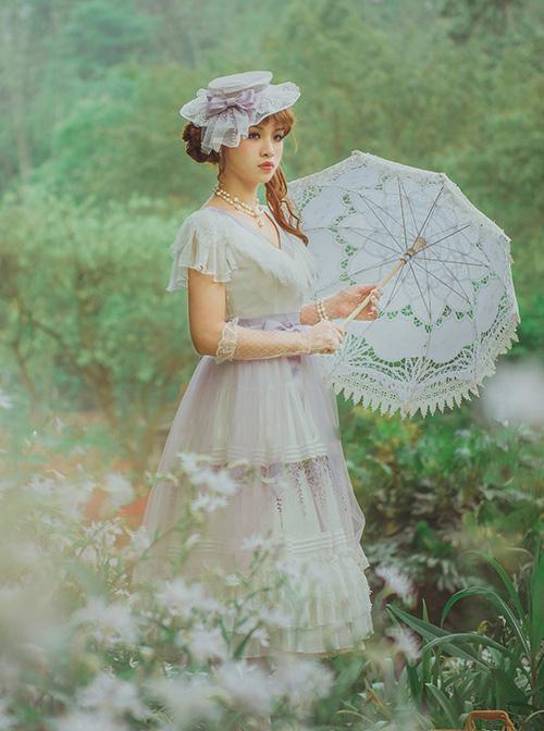 Flowers Embroidery Little High Waist Classic Lolita Long Dress