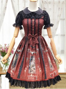Old Castle Elves Series Retro High Waist Lolita Sling Dress