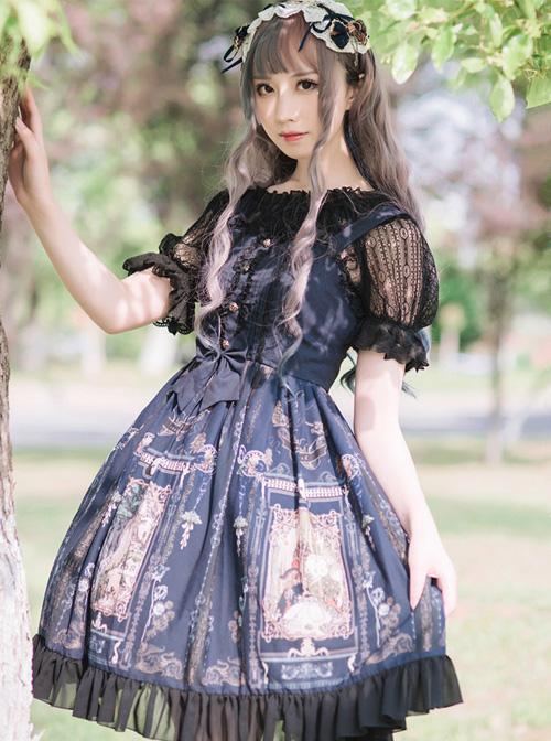 Old Castle Elves Series Retro High Waist Lolita Sling Dress