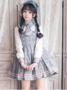 Little Bear Detective School Lolita Plaid Long Sleeve Dress