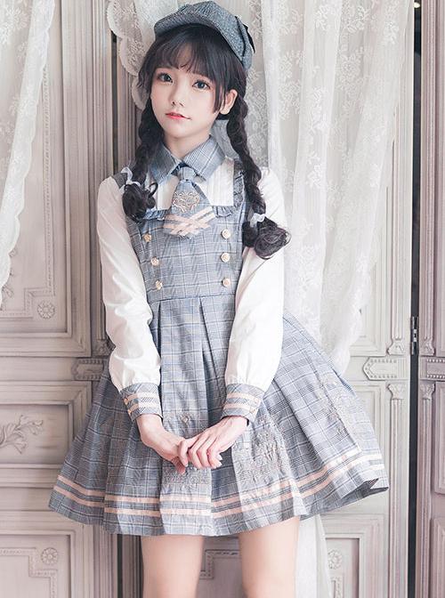 Little Bear Detective School Lolita Plaid Long Sleeve Dress