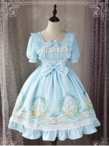 Magic Tea Party Wind's Child Series Bowknot Lolita Short Sleeve Dress