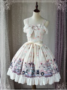 Magic Tea Party Ice Cream Party Series Printing Sweet Lolita Sling Dress
