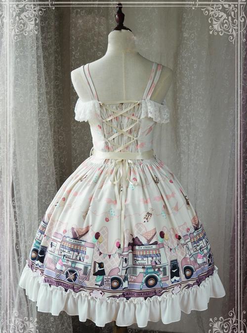 Magic Tea Party Ice Cream Party Series Printing Sweet Lolita Sling Dress