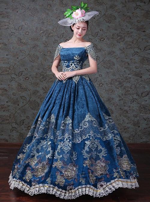 Navy Blue Off Shoulder True Velvet Embroidery Prom Dress