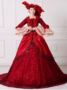 Gorgeous Bowknot Red Trailing Wedding Dress Lolita Prom Dress