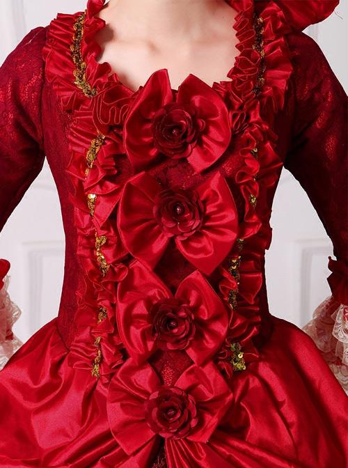 Gorgeous Bowknot Red Trailing Wedding Dress Lolita Prom Dress