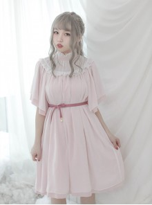 Stand Collar Seashell Sleeves Loose Sweet Lolita Dress