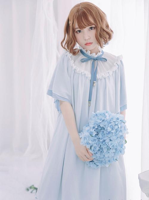 Stand Collar Seashell Sleeves Loose Sweet Lolita Dress