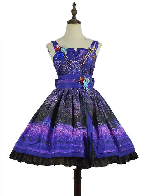 Japanese Style Sakura Fireworks Classic Lolita Sling Dress