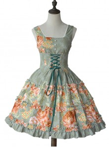 Retro Pure Cotton Green Ruffles Classic Lolita Sleeveless Dress