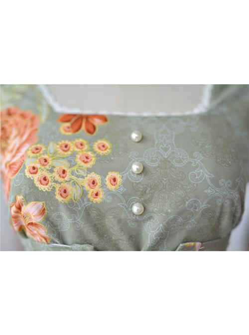 Retro Pure Cotton Green Ruffles Classic Lolita Sleeveless Dress