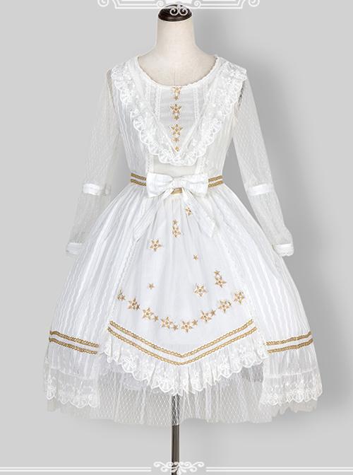 Chiffon Puff Sleeve Bowknot Ruffle Lolita Half Sleeve Dress