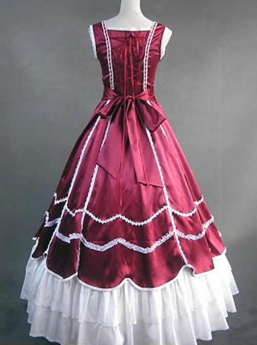 Red And White Lace Double-Layer Lace-up Lolita Prom Dress
