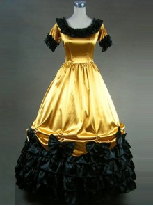 Retro Yellow And Black Lace Ruffles Round Collar Lolita Prom Dress (Extra Large)