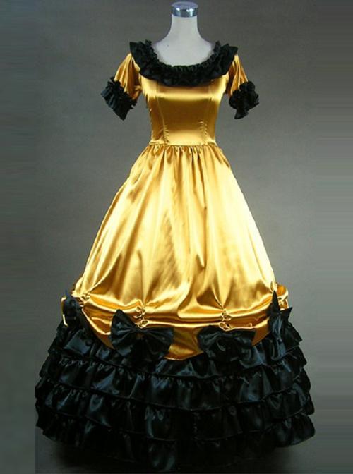 Retro Yellow And Black Lace Ruffles Round Collar Lolita Prom Dress (Extra Large)