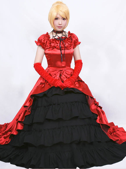 Palace Style Ruffles Retro Lolita Prom Long Dress