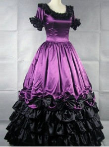 Palace Style Black Ruffles Lolita Prom Dress (Extra Large)