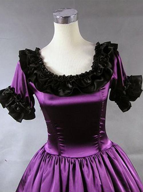 Palace Style Black Ruffles Lolita Prom Dress (Extra Large)