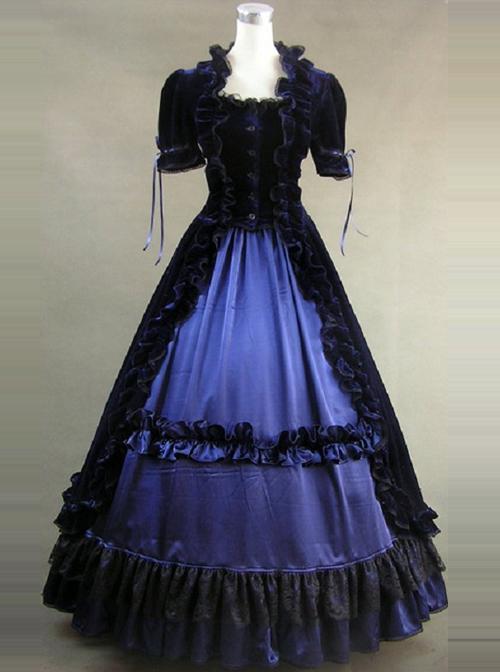 Victorian Ruffles Black And Blue Gothic Lolita Prom Dress