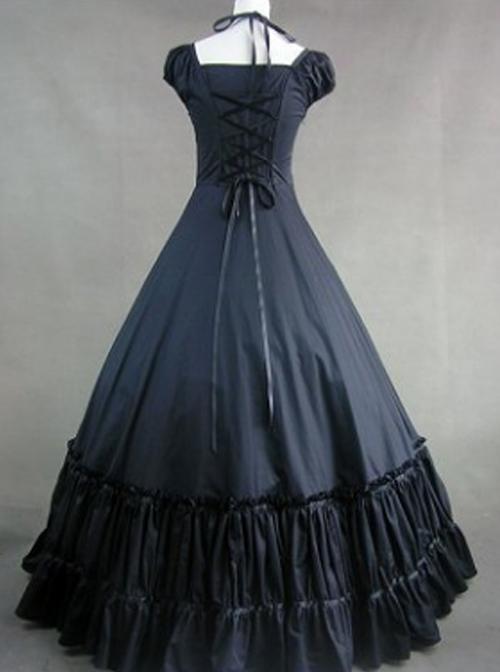 Hanging Neck Gothic Lolita Prom Bowknot Long Dress