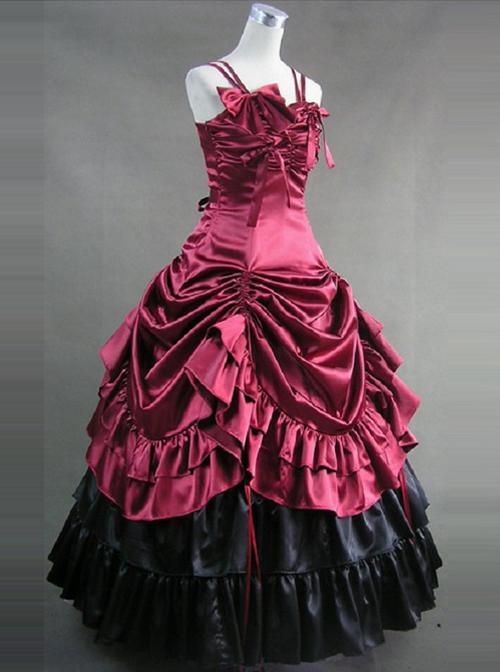 Victorian Bowknot Ruffles Gothic Lolita Prom Sling Dress
