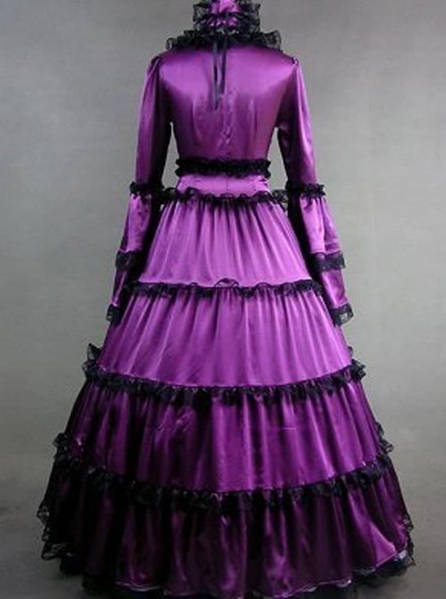 Matte Satin Lace Gothic Lolita Prom Dress
